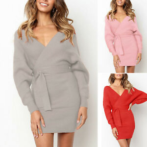 Womens Fluffy Mini Dress Long Sleeve Pullover Wrap Sweater Ladies Party Bodycon