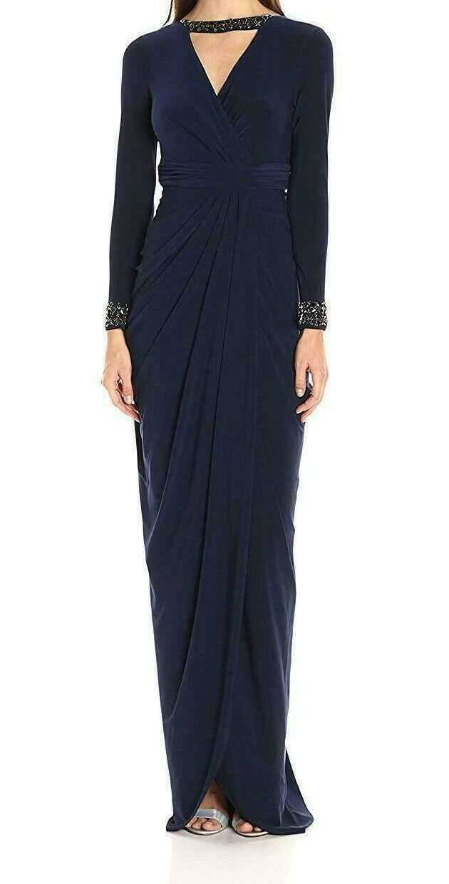 Adrianna Papell Kvinnors Långa Slave Rouched Jersey Gown Midnight Storlek 14