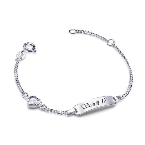 MATERIA Kinder Armband Silber 925 mit Gravur Herz Anhänger rhodiniert 12-14cm