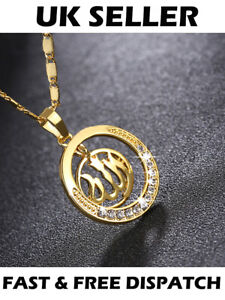 Gold-Muslim-Allah-Arabic-Islamic-Round-Necklace-God-Jewellery-Gift-Pendant-Chain