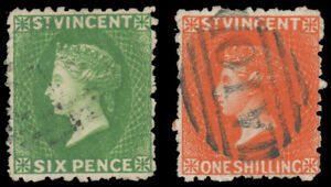 ST. VINCENT 1880 6p YELLOW GREEN 1sh VERMLION PERF 11 TO 13 WMK SMALL STAR USED
