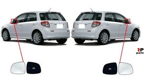 FOR SUZUKI SX4 06-13 WING MIRROR GLASS HEATED WITH FRAME PAIR SET L/&R