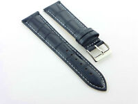 18mm Gator Leather Watch Strap Band For Croton Dark Blue