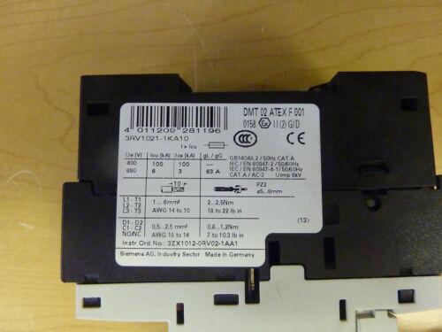 Siemens 3RV1021-1KA10 Manual Motor Starter 3P 9A-12.5A 600VAC with 3RV1901-1E