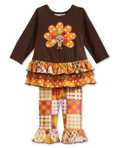 7522d096ed935 NWT Girls 6 BONNIE JEAN Thanksgiving Turkey Tunic & Leggings Set | eBay