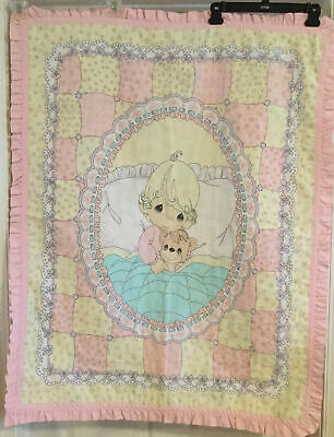 Precious Moments Vintage Bebê Cobertor De Berço Menina De 35 X 45 Teddy Bear Ebay