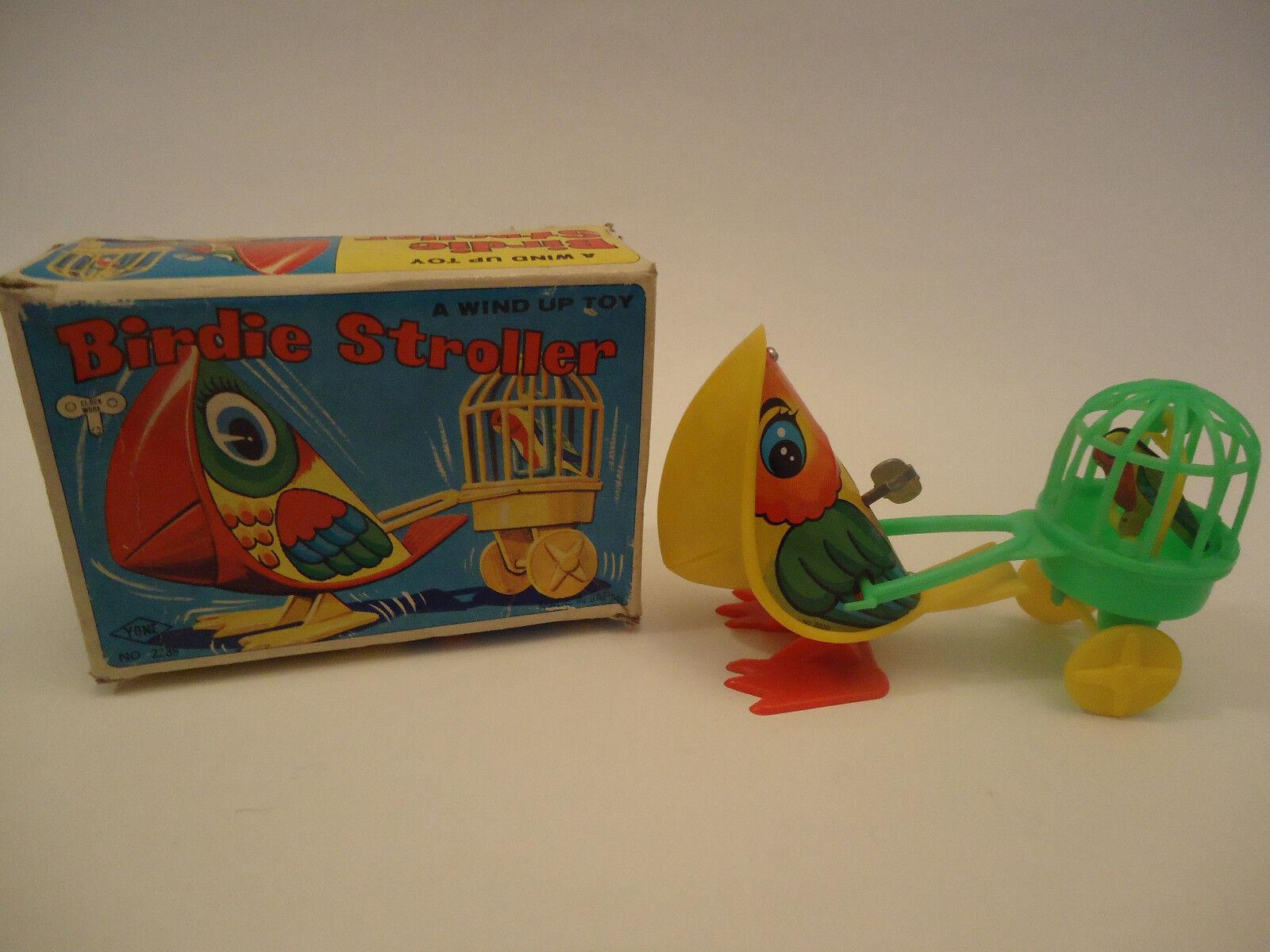 Vintage Very Rare YONE Japan Wind Up Toy Birdie Stroller Parrot No.2239 + Box