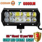 7Inch 60W OSRAM Led Light Bar Flood Work Light Driving Lamp Off-road 4WD ATV SUV