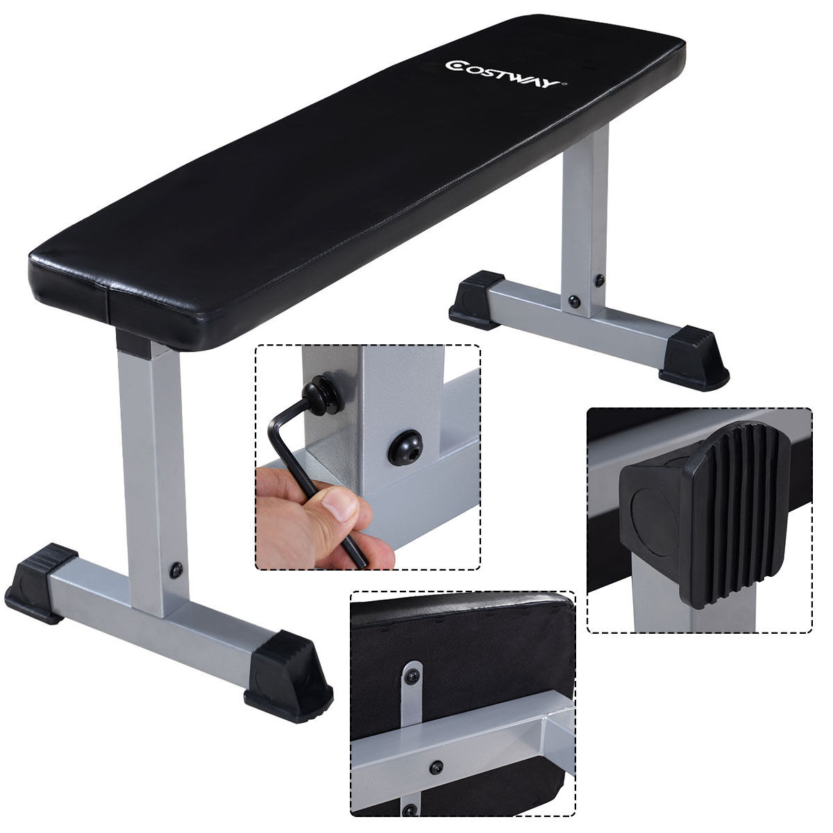 Costway Sit Up Bench Flat Crunch Board AB Abdominal  Fitness Weight Exercise New  with cheap price to get top brand