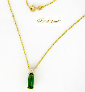 gift luxury green tourmaline natural stone tourmaline bar necklace green stone 18k gold gold filled gold chain raw stone
