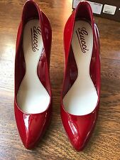 Gucci Red Patent Heels Size 9 Vitello Vernice Soft Rosso $625