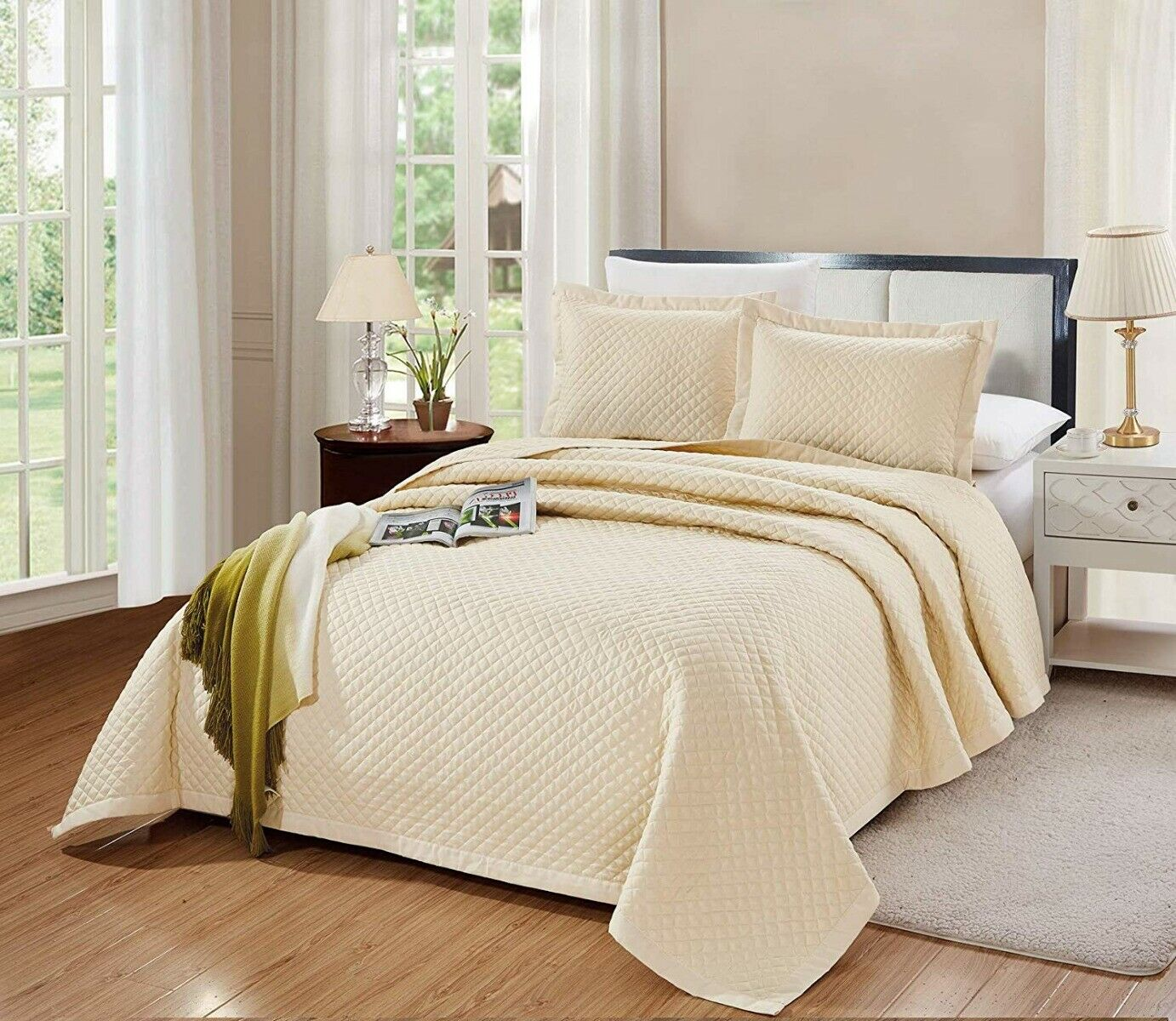 3PC Queen Full Size Naples Quilt Solid Light Ivory Bedspread Microfiber Coverlet