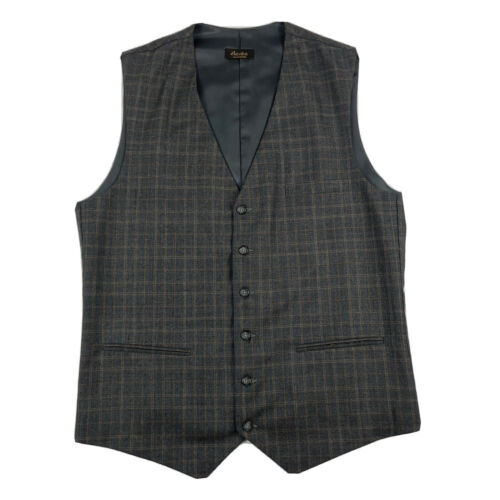 Elevee Charcoal Gray Checked Wool Waistcoat Size M