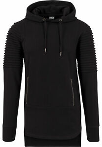 Urban-Classics-Men-039-s-Hooded-Pullover-Pleat-Sleeves-Terry-Hilo-Hoodie