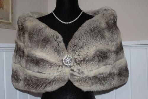 Genuine Chinchilla Fur Stole Wrap Coat