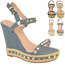 e8650e4f4f3 item 3 Womens Ladies Studded Espadrille Wedge High Heel Sandals Ankle Strap  Shoes Size -Womens Ladies Studded Espadrille Wedge High Heel Sandals Ankle  Strap ...