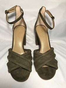 7dda6b4f4881 Image is loading NEW-Ann-Taylor-Gillian-Olive-Suede-Heels-Sandals-