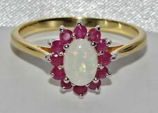 9ct Yellow Gold & Silver Natural Opal & Ruby Ladies Cluster Ring size M