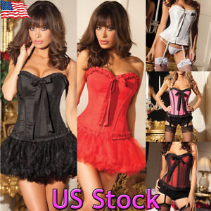 700b9d3498 Image is loading US-Women-Corset-Top-Dress-Waist-Training-Bustier-