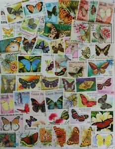 BUTTERFLIES-and-Moths-very-nice-collection-of-300-different-stamps-lot-DP