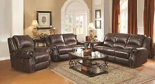 RUSTIC BURGUNDY BROWN TOP GRAIN LEATHER SOFA & GLIDING LOVESEAT FURNITURE SET