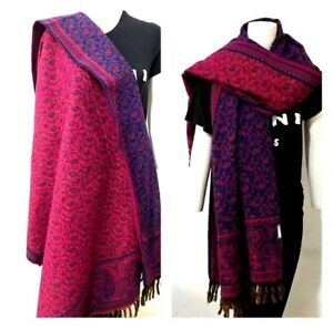 yak-Wool-shawl-teal-pink-colour-floral-reversable-SCARF-UNISEX-BLANKET-xmas-gift
