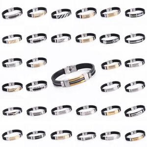Men-039-s-Women-039-s-Punk-Stainless-Steel-Black-Rubber-Wristband-Cuff-Bracelet-Bangle