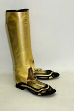 PRADA Ladies Gold & Black Leather Open Toe Cut Out Knee High Boots UK5 E 38