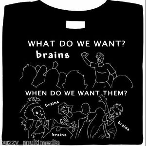 30a923853 Zombie Shirts, We Want Brains !, funny t-shirts, funny horror tees ...