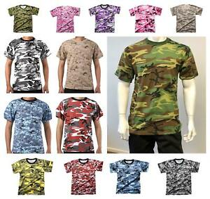 Mens Army Military Style Gym Training Running Outdoor Boot Camp Camo T-shirt Tee