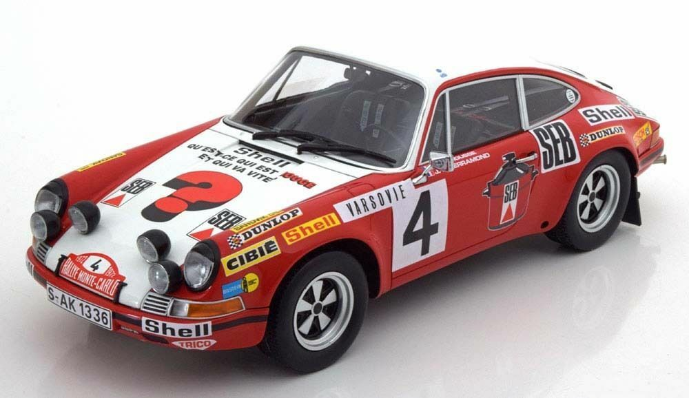 Minichamps 1972 Porsche S Rally Monte Carlo LaroussePerramond 4 1:18  nuevo