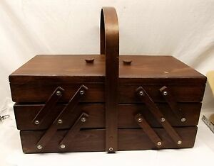 Vtg-Wood-Folding-Sewing-Notion-Box-Accordion-Made-in-Romania-Dovetail-3-Tier