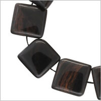10 Mahogany Obsidian Flat Square Beads 18mm 7 89044