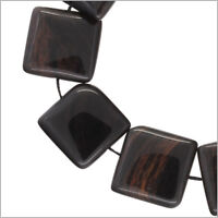 10 Mahogany Obsidian Flat Square Beads 18mm 7 89044