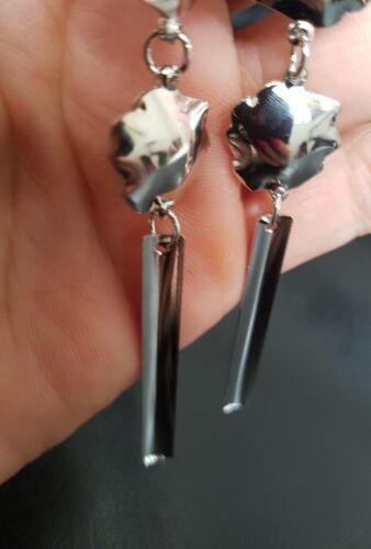 80s Fashion  Long Drop Dangle Bohemia Flower Earrings Silver Tone Wedding