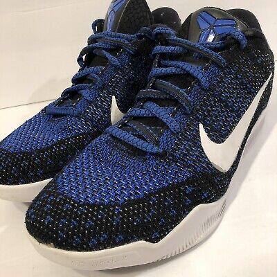 save off 319d4 dd1cb Nike Zoom Kobe XI 11 Low Mark Parker Blue White Black sz 10.5 Elite EUC  W/Laces   eBay