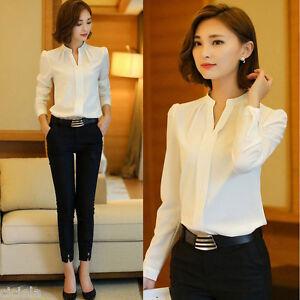 Women-V-Neck-Tops-OL-Lady-Work-Formal-Shirt-Office-Uniform-Business-White-Blouse