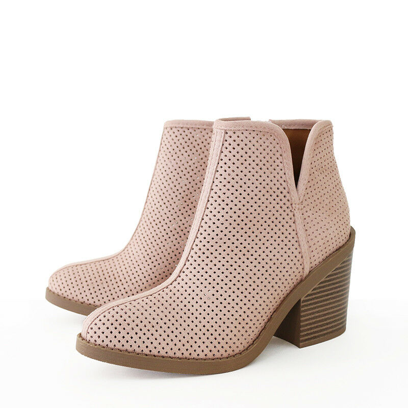 Western Influence Perforated Faux Suede Ankle Boots Booties Stacked Heel Mauve