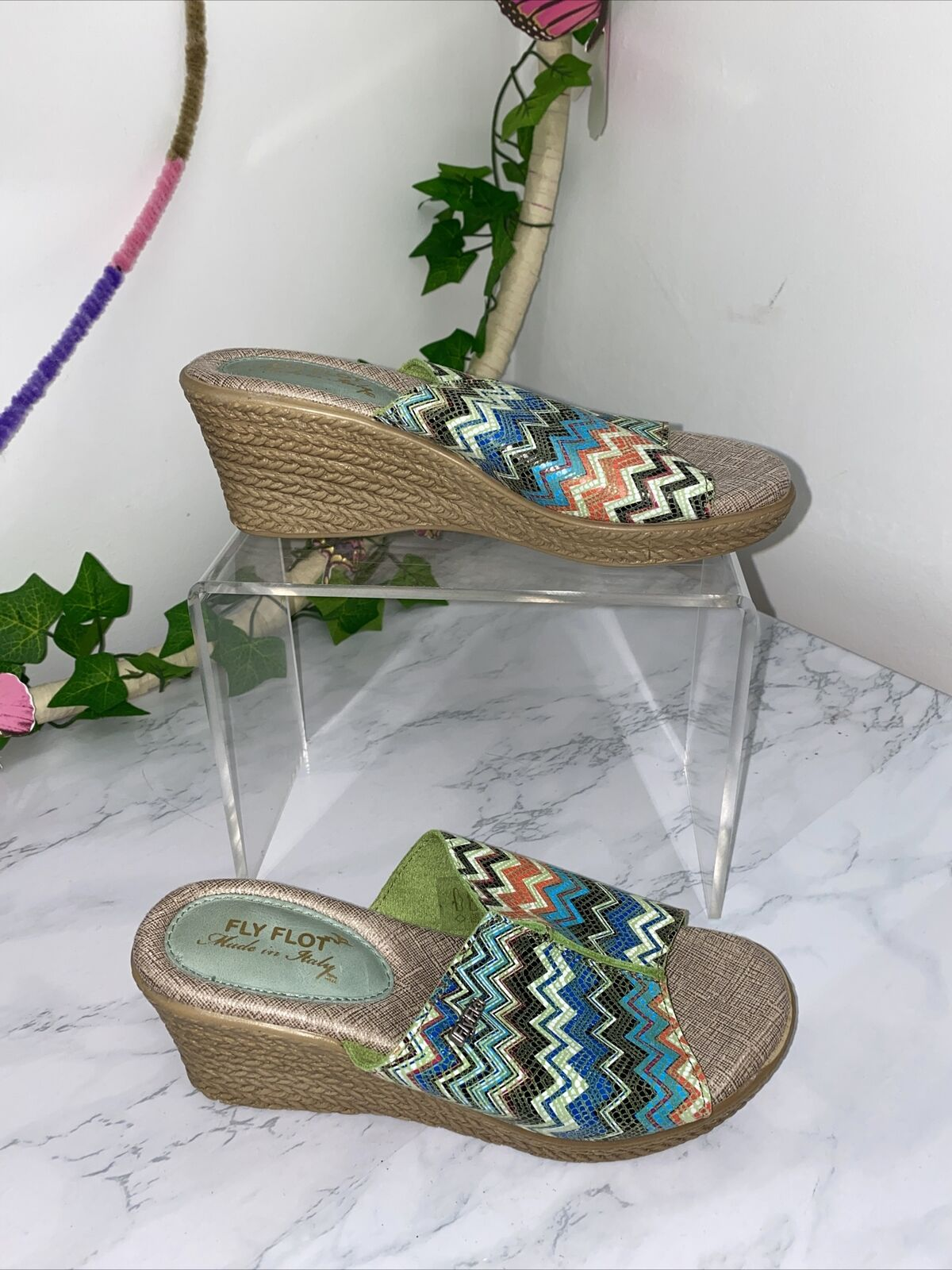 Fly Flot Multicoloured Stripe Boho Slip On Wedges Mules Size 2 Ladies New #16