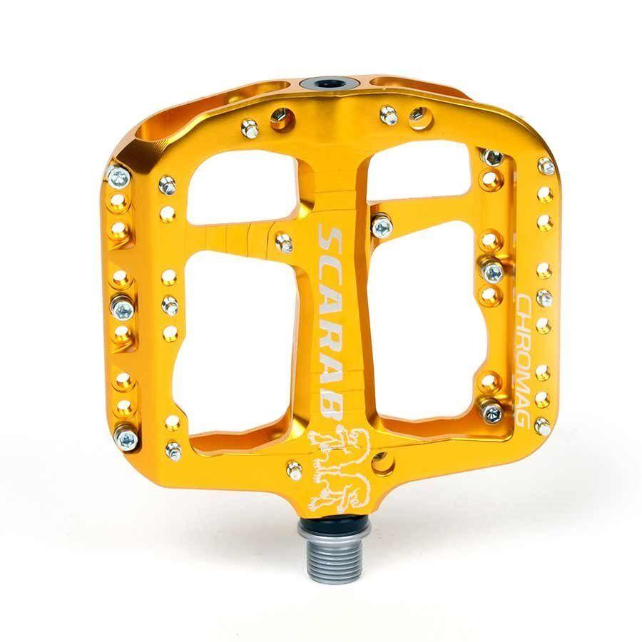 Chromag Scarab piattaforma PEDALI leadership OVP magazzino corpo in alluminio oro