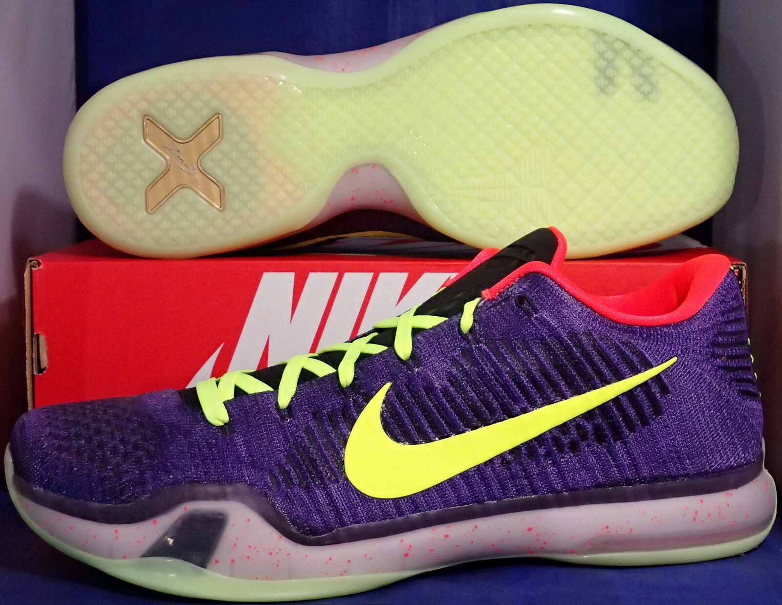 Nike Kobe X 10 Elite Low Flyknit iD Court Purple Volt SZ 14 ( 802817-991 )