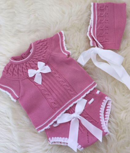 SPANISH STYLE KNITTED BABY GIRLS TOP AND JAM PANTS  BONNET IN PINK 3,6,12,18