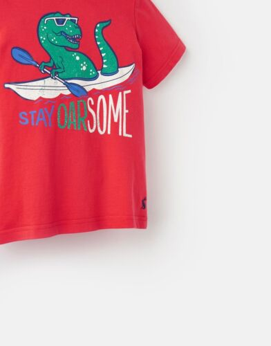 BNWT Joules Boys Ben Top Tee T-Shirt Red Dino Dinosaurs Stay Oarsome