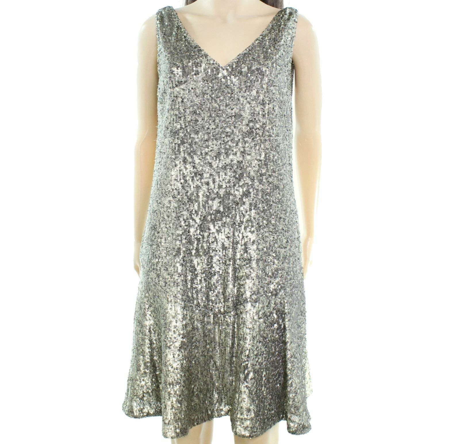 Lauren Ralph Lauren damen Sleeveless Sequined V-Neck Dress 10 Gold Pewter