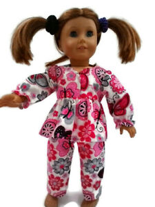 Flannel-Pajamas-18-in-Doll-Clothes-fits-American-Girl-Dolls-Pink-Butterflies