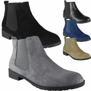 New-Womens-Ladies-Low-Heel-Casual-Work-Plain-Chelsea-Ankle-Boots-Flat-Shoes-Size