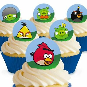 Tremendous Cakeshop 12 X Pre Cut Angry Birds Birthday Cupcake Edible Cake Funny Birthday Cards Online Sheoxdamsfinfo