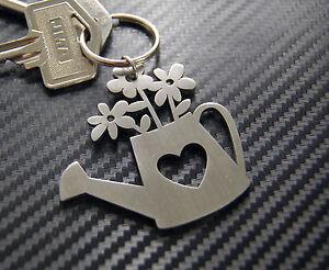 WATERING CAN Gardener Flowers Garden Keyring Keychain Key Stainless Steel Gift