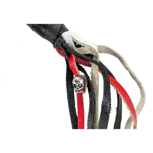 Get Back Whip Red Black /& White 42 inch Biker Motorcycle Leather Whip SS Clasp