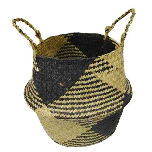 Seagrass Storage Basket Flowerpot Foldable Laundry Holder Organizer Bag
